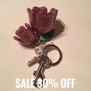 Coach Glitter Tea Rose Bag Charm & Key Fob